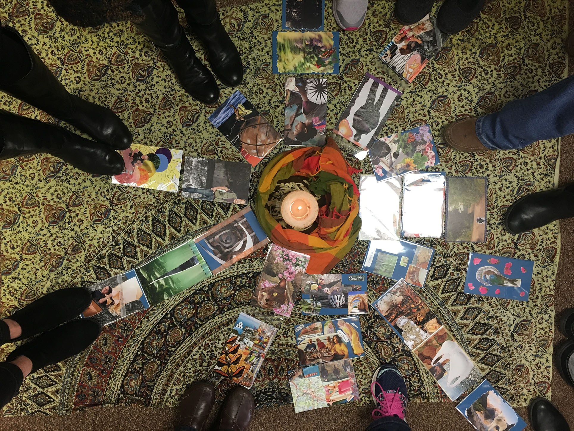 During our closing circle we celebrate and honor each person's cards.